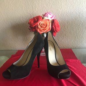 """*Sold* 4 1/2"""" suede peeptoe stiletto high heels"""